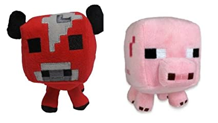 Creeper Enderman Baby Pig Cow and Sheep Official Minecraft Overworld 7 Plush Set of 5