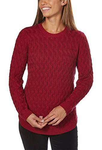 27c871d47a Jeanne Pierre Women s Fisherman Cable-Knit Sweater (Red Currant ...