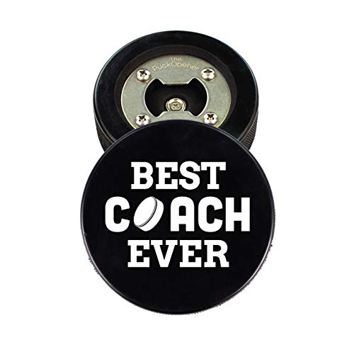 Hockey Coach Gift, Bottle Opener made from a REAL Hockey Puck, Best Coach Ever, Cap Catcher, Coaster
