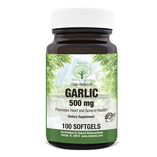 Reasonable Nutra Odorless Garlic Extract – 100 Capsules, 500 mg: Allium Sativum – Supplement Supports Healthy Blood Strain, Heart Health, Boosts Immune System