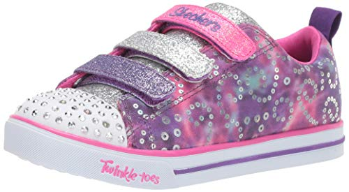 Skechers Kids Girls' Sparkle LITE-Rainbow Brights Sneaker, Purple/Multi, 1 Medium US Little Kid]()