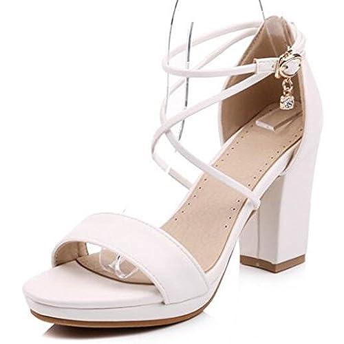 8e937342ac20 IDIFU Women s Fashion High Block Heels Platform Sandals With Ankle Strap  delicate