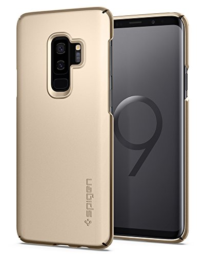Spigen Thin Fit Galaxy S9 Plus Case with SF Coated Non Slip Matte Surface for Excellent Grip and QNMP Compatible for Galaxy S9 Plus (2018) - Maple Gold