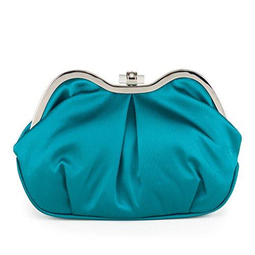 Farfalla 90640 - Bolso estilo sobre de satén mujer azul - verde azulado