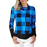 NUWFOR Women's Plaid Checkered Pullover Casual Long Sleeve Hoodie Sweatershirt Jacket Coat PocketsFor Winter/Fall