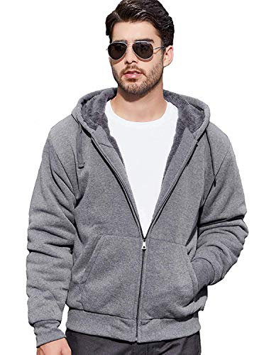 GEEK LIGHTING Men's Full Zip Ultimate Heavyweight Blend Fleece Hoodie Dark Grey Large