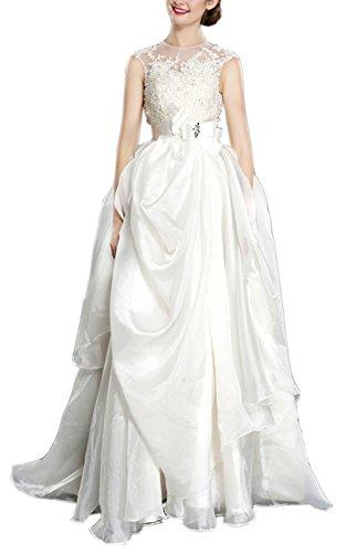 Sayadress Women's Jewel Lace Applique Bow Sash Ruffles Cloud Yarn Wedding Dress Ivory US2 by Sayadress