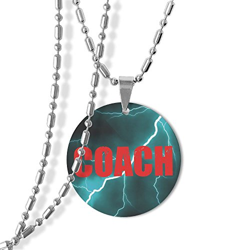 Red Coach Equipment Dog Tag Round Pendant Necklace,23 Inch Chain,Zinc Alloy