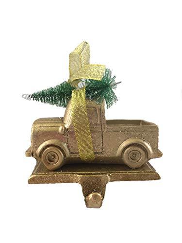 - Seasons Designs Retro Pickup Truck Glitter Gold-Colored Stocking Holder