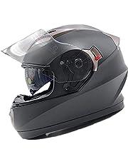 NATHUT Motorradhelm Integralhelm mit Sonnenblende - Motorrad Helm - ECE (M 56-58cm, schwarz matt)