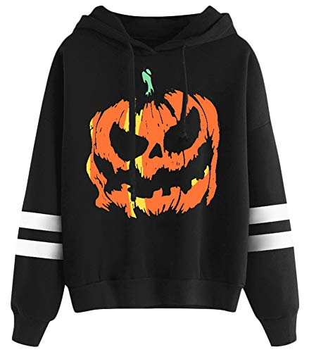 Halloween Hoodie Women Pumpkin Striped Pullover Top Graphic