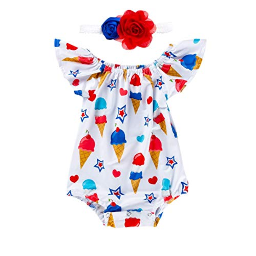 Summer Toddler Baby Girls July 4th Photoshoot Prop Sleep Romper Outfits Fly Sleeve Floral Bodysuit + Flower Headband (White, 3-6 Months)