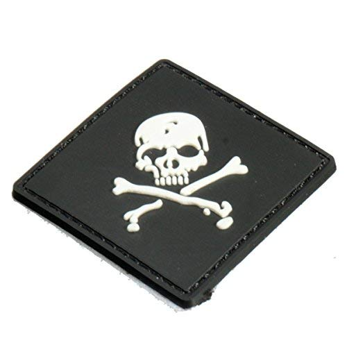 Macerdonia Motorcycle Decals - 6x6cm Black Slull 3d Tactical Army Morale Pvc Rubber Patch - Skull Velcro Patch Tactical Pirate Backpack Patches Pack Military Badges Pirates Morale - Pvc