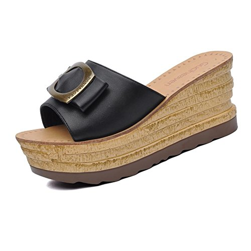 KJJDE Zapatos con Plataforma Mujeres JZTC-8685 Accesorios de Bowknot de Hebilla de Metal Sandalias Mujer Zapatilla Chanclas de Moda Confort Peep Toe Tacón Zapatos Para Caminar negro