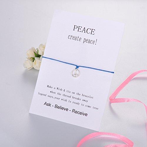 HOUSWEETY Bracelet Cordon Voeux la Bonne Chance Breloque Symbole de Paix pour Homme et Femme