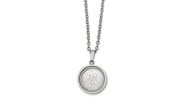 Jay Seiler Stainless Steel Fancy Shell w//CZs Pendant 22in Necklace Length 22 in,