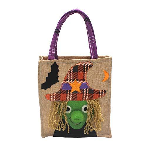 Georgie Porgy Kids Halloween Treat Candy Handbag Festive Tote Bags Candy Bag Drawstring Basket (XD189010-Witch)