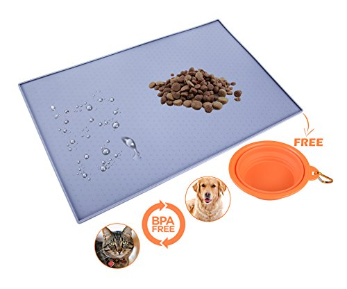 ClutchMat Dog Food Mat and Collapsible Pet Bowl | Waterproof Placemat for Cats or Dogs | BPA Free, Non-Toxic Silicone…