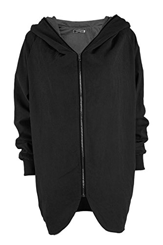 La Mujer Casual De Manga Larga Con Cremallera Sudadera Chaqueta Outwear Irregulares Plus Tamaño MIDI Suelto Black