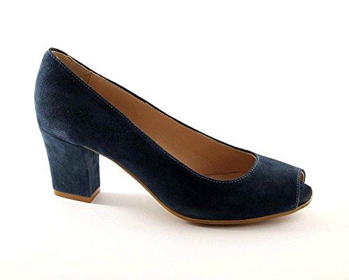 Grünland CURVA SC1142 zapatos de gamuza real mujer apareció decollet Blu