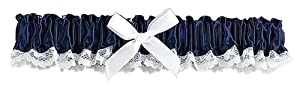 Hortense B. Hewitt Wedding Accessories Ribbon and Lace Garter, Midnight