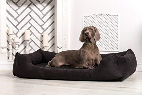 Tierlando Dog Bed Moritz Soft Velour Dog Sofa Dog Basket Black, M 80cm