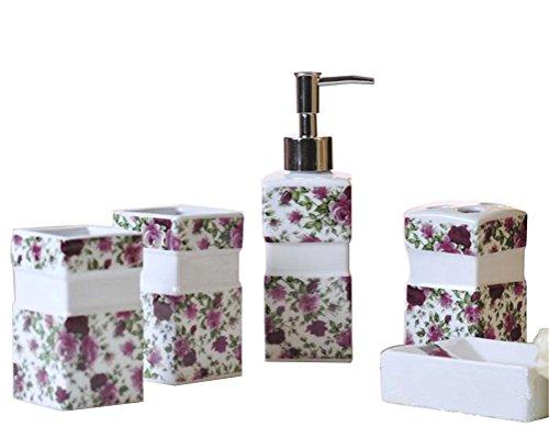 Ceramic Bathroom 5 Pieces Set Supplies Purple Rose Leaves Bathroom Accessories Set Stylish Bath Accessories Beautiful Home Gifts