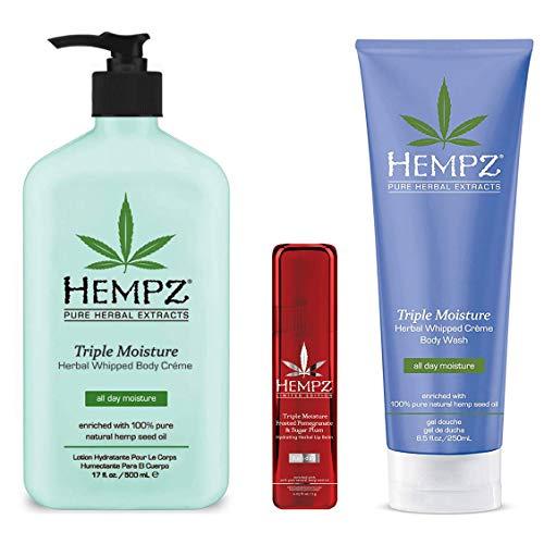 Hempz Body Gift Set - Hempz Triple Moisture Herbal Body Lotion, Wash & Limited Edition Lip Balm Trio Set