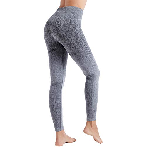 Aoxjox Yoga Pants for Women High Waisted Gym Sport Ombre Seamless Leggings (Black Grey/Grey, Small)
