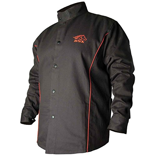 Revco BSX B9C 9oz. Black/Red Cotton Welding Jacket, Flame Resistant 4X