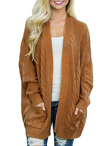 Doballa Womens Chunky Boyfriend Open Front Long Sleeve Cable Knit Aran Twisted Cardigan Sweaters Coat With Pockets