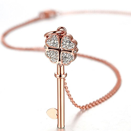 Joorria Key Pendant Necklace Stainless Steel Rose Gold Heart Clover Charm for Womens 18.1+2.2 inch (Clover Key Pendant)