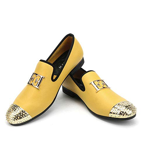 XQWFH Men Leather Loafers with Gold Buckle Wedding and Party Dress Shoes (11 M US)