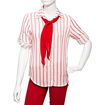 Big Dart Red Viscose Shirt Neck Shirts For Women