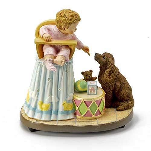 """Bob Byerley Musical Figurine Title """"Sharing"""" with Child and Dog - Over 400 Song Choices - Teddy Bear"""