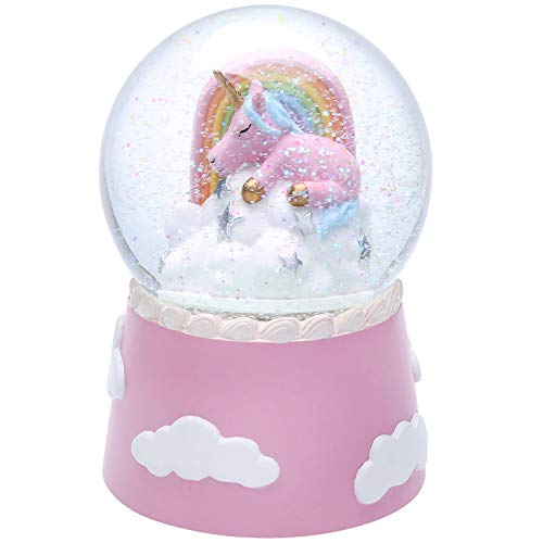 J JHOUSELIFESTYLE Unicorn Snow Globe for Kids, Sleeping Unicorn Rotating Inside as Music Plays, Perfect Unicorn Music Box for Girls, Granddaughters Babies Birthday - Pink