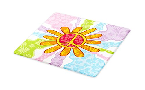 Lunarable Groovy Cutting Board, Hippie Peace Symbol Daisy Flower Shape Pacifism Floral Summer Illustration, Decorative Tempered Glass Cutting and Serving Board, Large Size, Apricot Multicolor