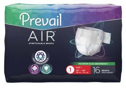(Prevail Air Maximum Plus Absorbency Stretchable Incontinence Briefs/Adult Diapers, Size 1, 96 Count)