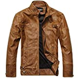 European and American style men's leather jacket Autumn and winter jacket plus velvet leather jacket