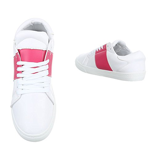 Ital-Design Sportschuhe Damenschuhe Geschlossen Sneakers Schnürsenkel Freizeitschuhe Weiß Rosa T207P