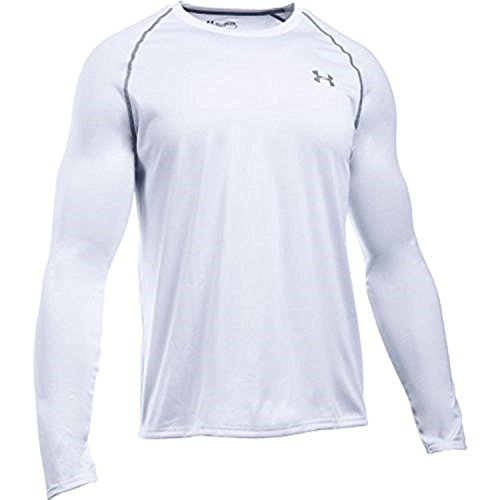 Under Armour Men's Tech L/S T-Shirt White / Steel XXL & HDO Workout Visor Bundle