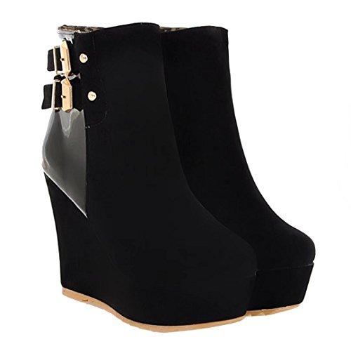 AIYOUMEI Damen Keilabsatz Stiefeletten mit Plateau und Schnalle High Heels Herbst Winter Keilstiefel Schuhe Schwarz