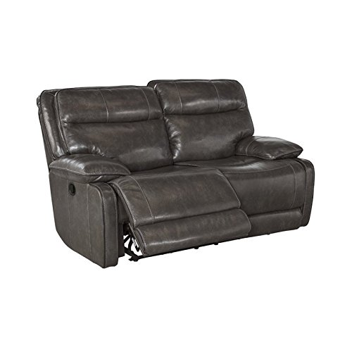 Ashley U7260186 Palladum 67'' Reclining Loveseat with Split Back Cushion Piped Stitching Metal Frame and Leather Upholstery in Metal