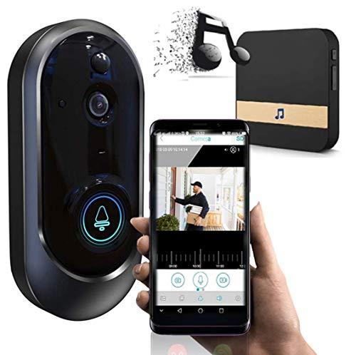 Smart Wireless Oval Shape WiFi Doorbell Camera Phone Door Bell with Camera - Smart Video Intercom Ring Doorbell - Motion Detector, Night Vision - Includes Ding Dong Wireless Doorbell Chime Kit (Wifi Doorbell Intercom)