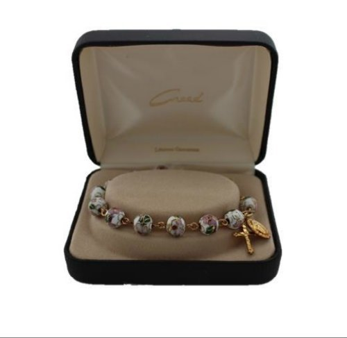 Beautiful White 8MM Cloisonne Bead Rosary Bracelet with Miraculous Medal and Crucifix Dangles in Deluxe Gift Box
