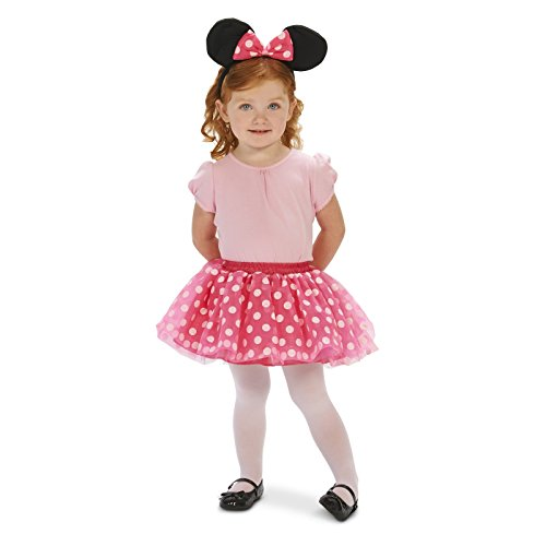 [Pink and White Dot Dress Up Tutu with Mouse Ear Headband Toddler 2-4T] (Mickey Dress)