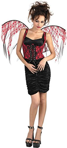 Wings Lace Corset - Morris Costumes Wings Red Lace Black Corset