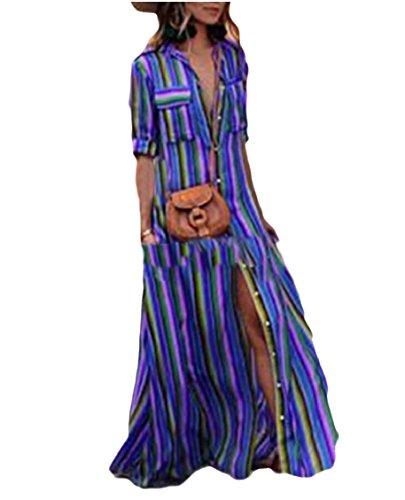 Maxi Neck Short Slit with Blue V Sleeve Pocket Womens Down Button Dres Striped Jaycargogo UwxAqzR