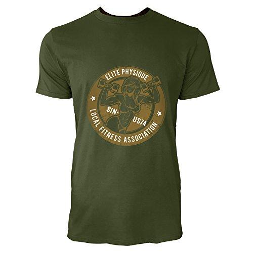 SINUS ART® Bodybuilder Frau mit Hanteln im Retro Stil Herren T-Shirts in Armee Grün Fun Shirt mit tollen Aufdruck