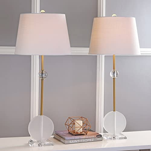 """34"""" Crystal/Metal LED Table Lamp, Brass (Set of 2), Modern, Bulbs Included"""